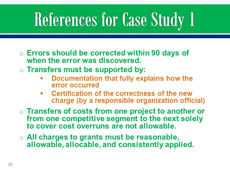 References for Case Study 1