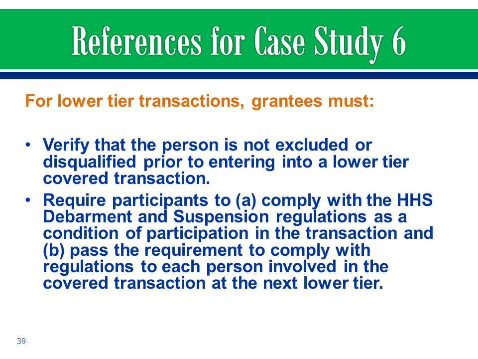 References for Case Study 6