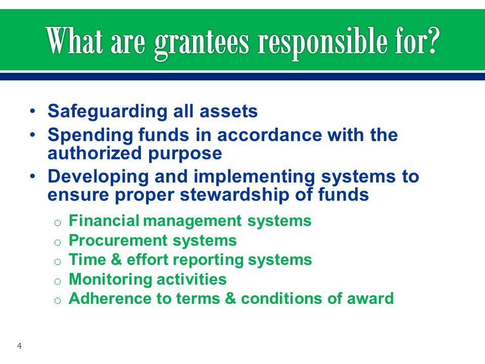 What are grantees responsible for