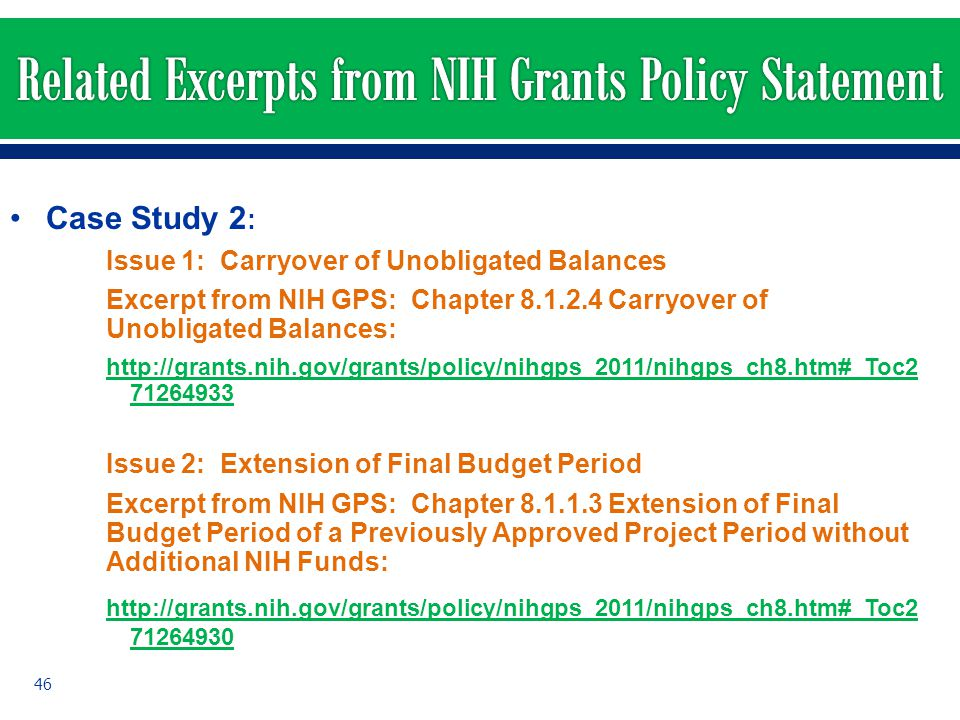 Related Excerpts from NIH Grants Policy Statement