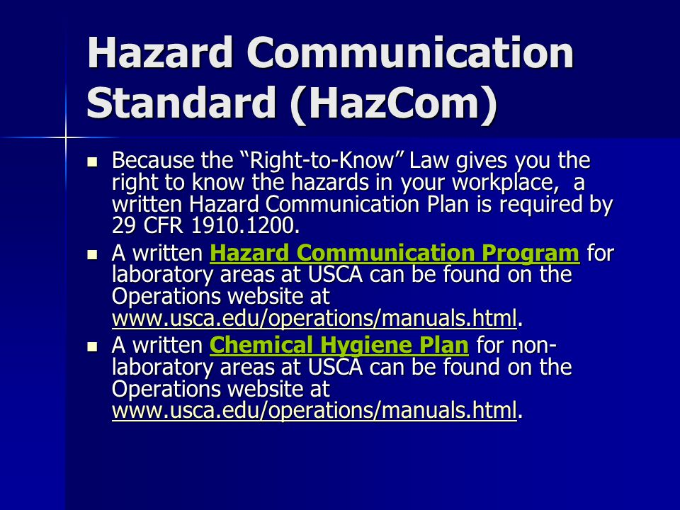 Hazard Communication Standard (HazCom)