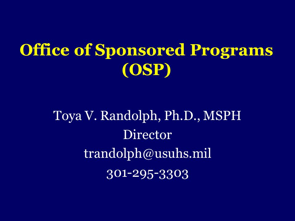 Office of Sponsored Programs (OSP)