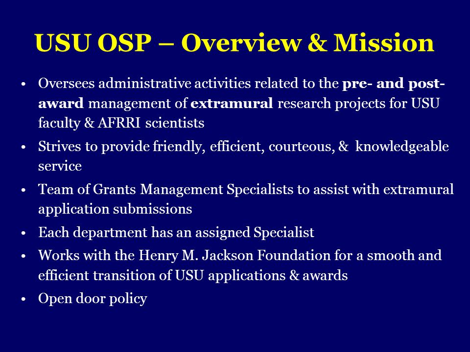 USU OSP – Overview & Mission