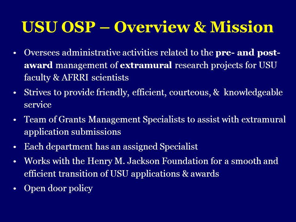 USU OSP – Overview & Mission