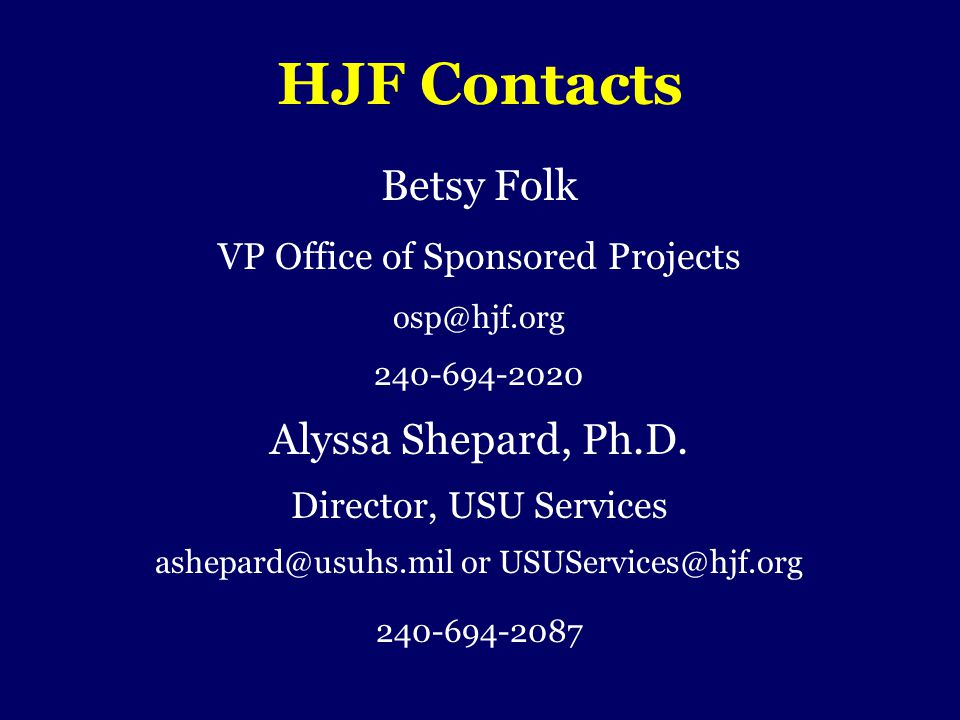 HJF Contacts Betsy Folk Alyssa Shepard, Ph.D.