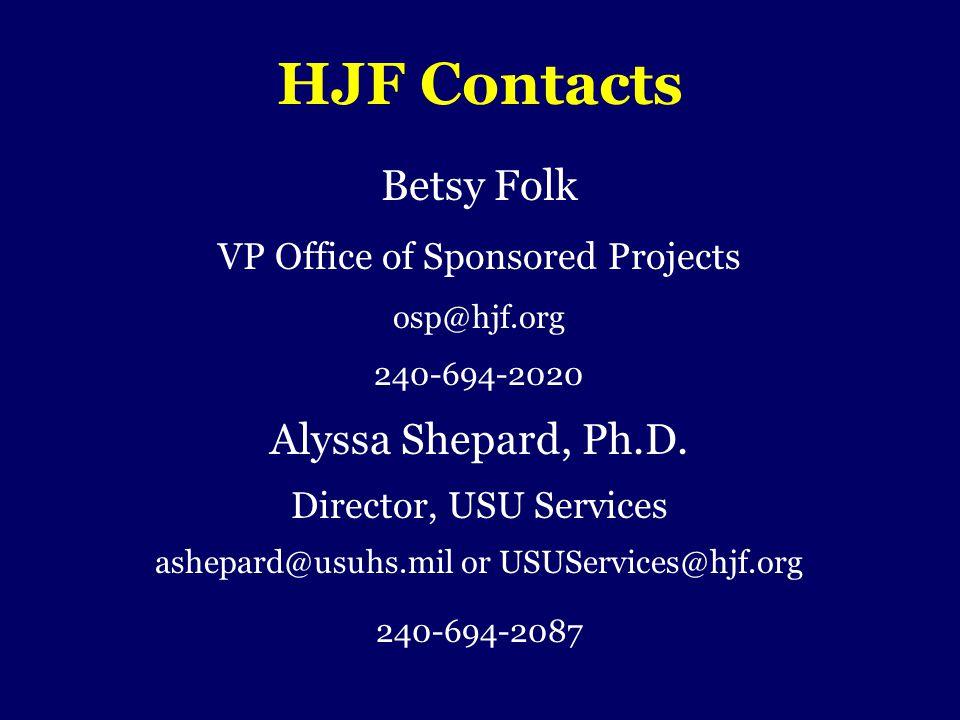 HJF Contacts Betsy Folk Alyssa Shepard, Ph.D.