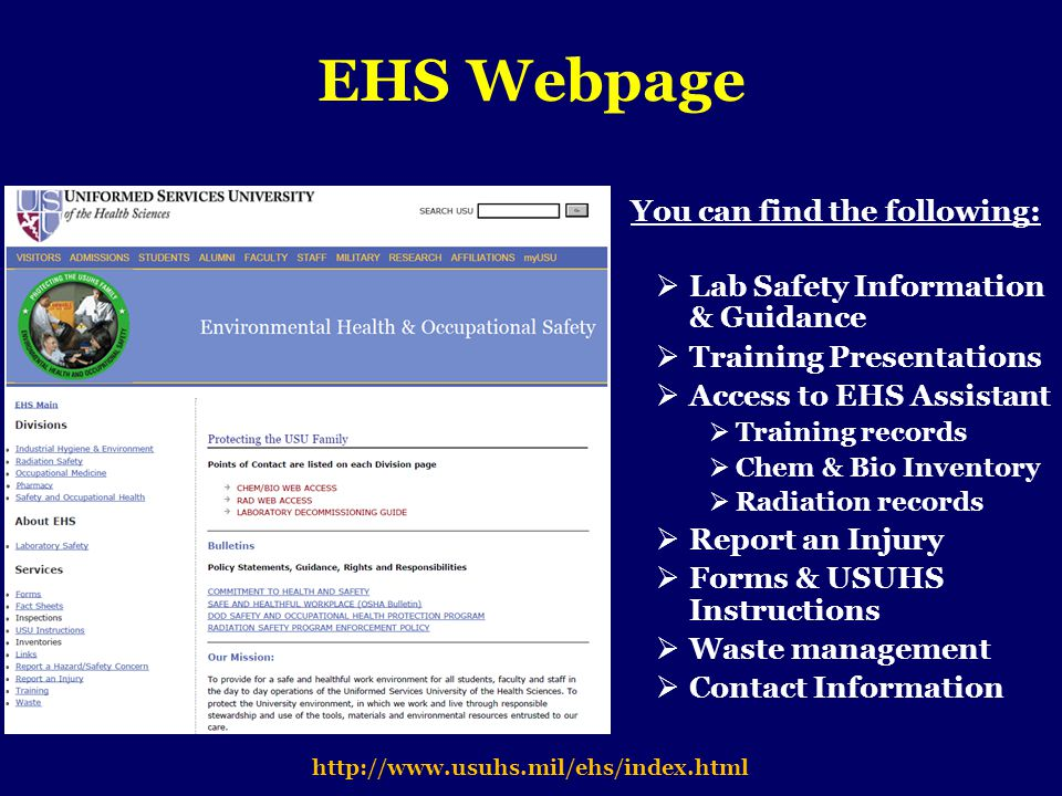 EHS Webpage You can find the following: