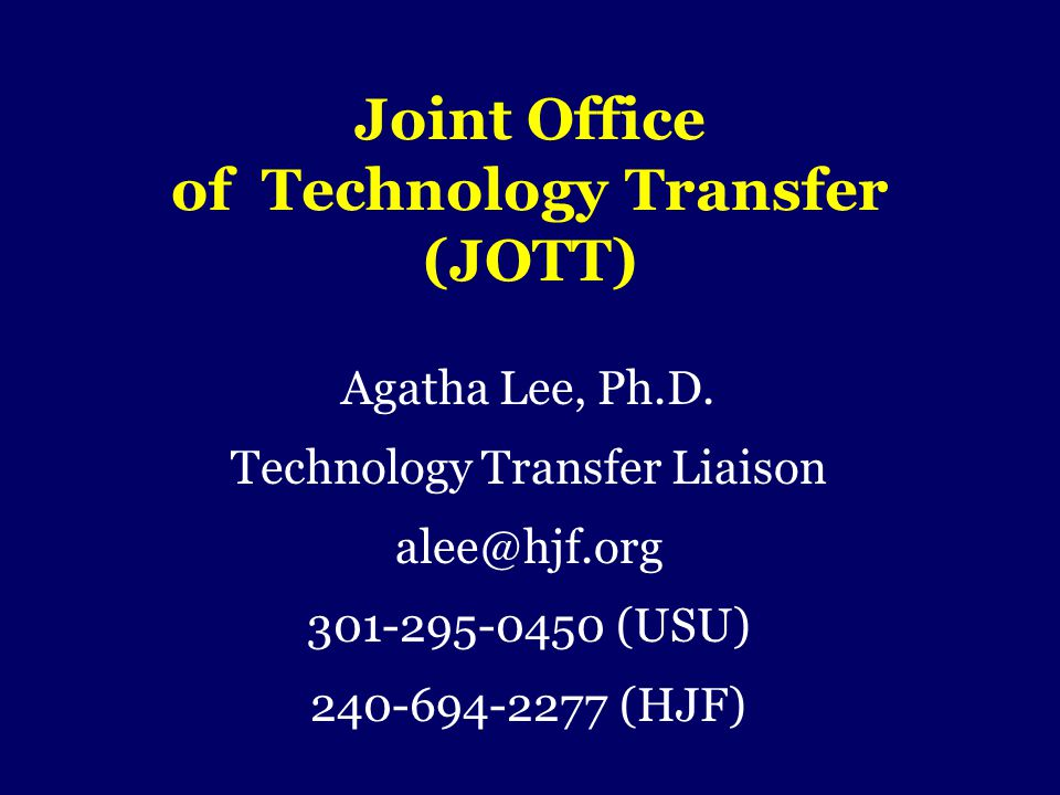 Joint Office of Technology Transfer (JOTT)