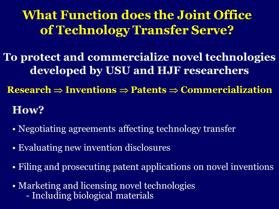 What Function does the Joint Office of Technology Transfer Serve