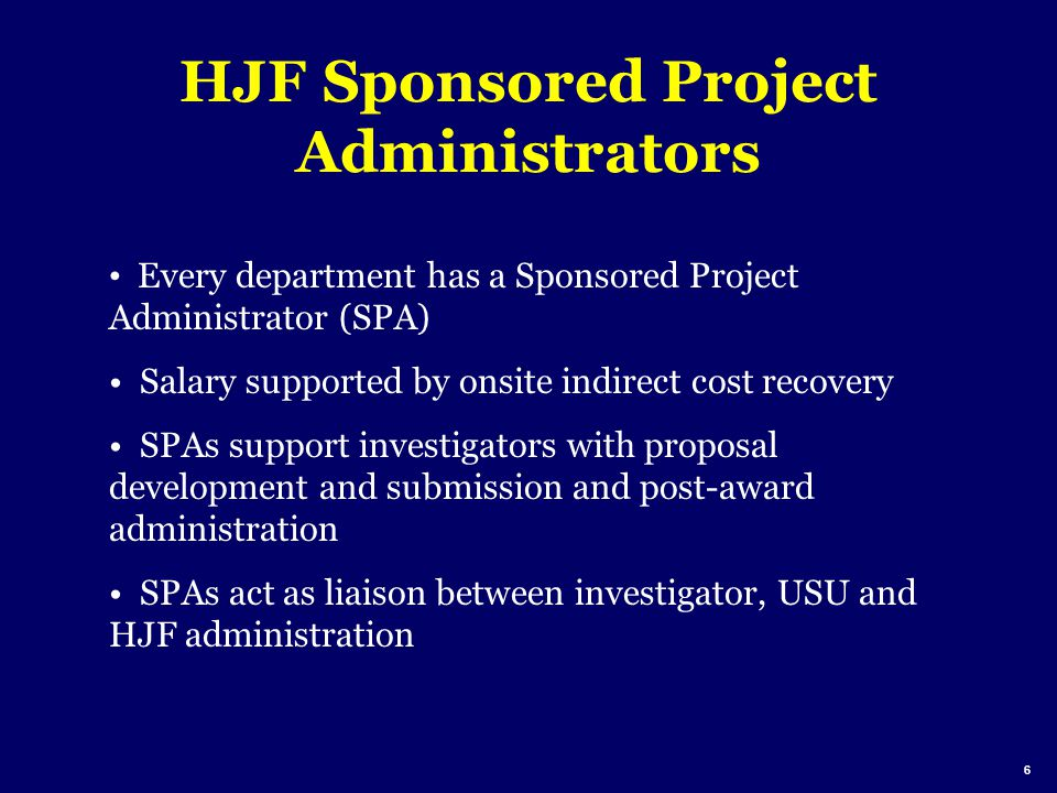 HJF Sponsored Project Administrators