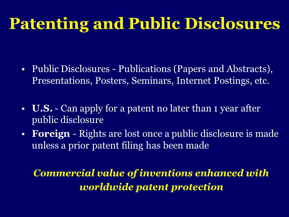 Patenting and Public Disclosures