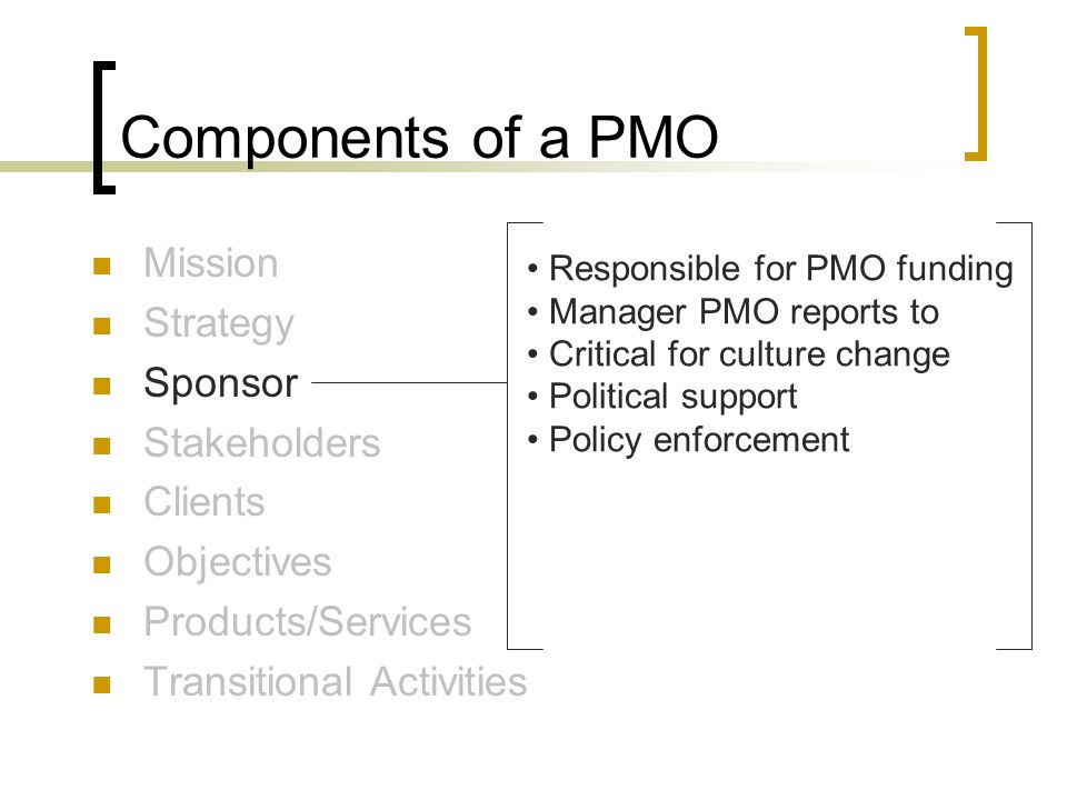 Components of a PMO Mission Strategy Sponsor Stakeholders Clients