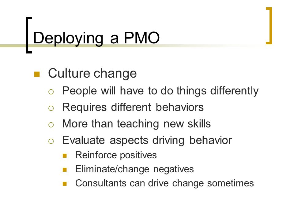 Deploying a PMO Culture change