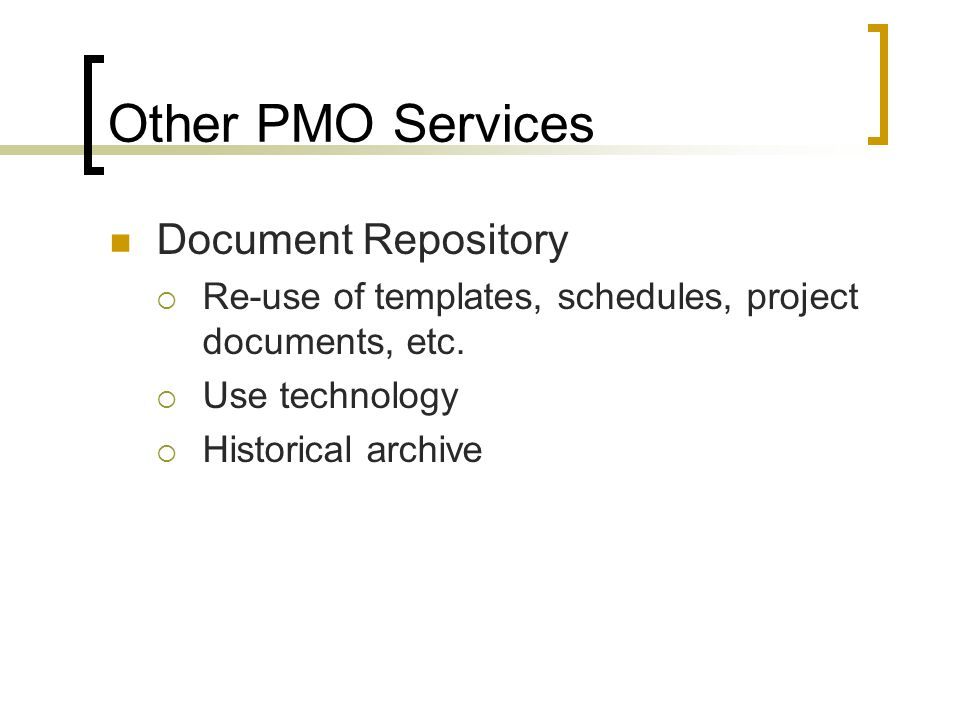 Other PMO Services Document Repository
