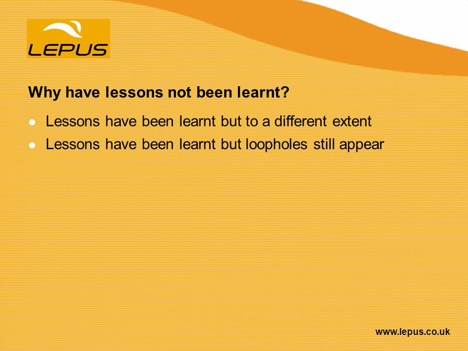 Why have lessons not been learnt