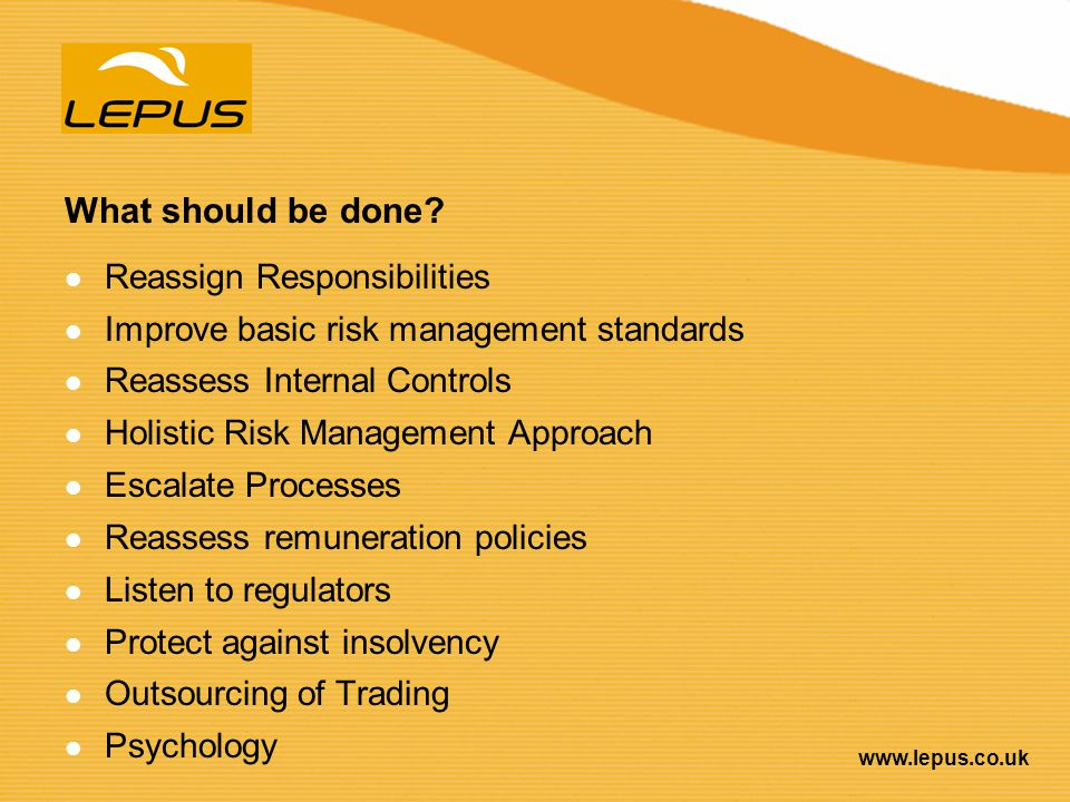 What should be done Reassign Responsibilities
