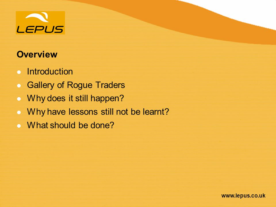 Overview Introduction Gallery of Rogue Traders