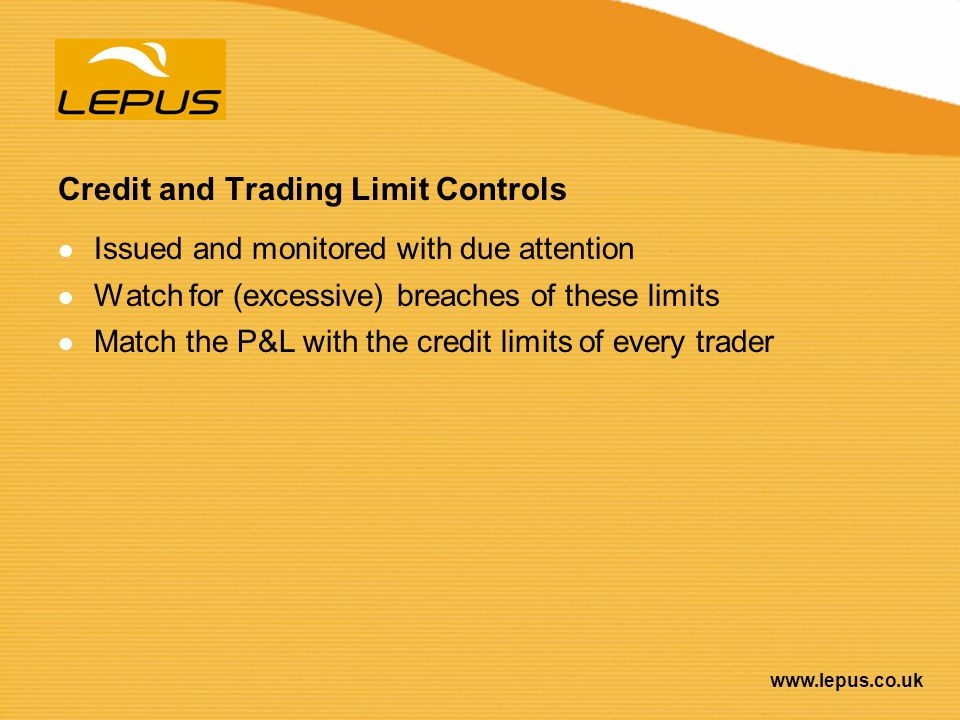 Credit and Trading Limit Controls