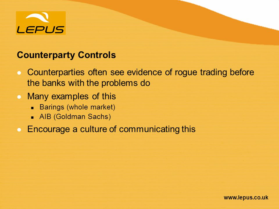 Counterparty Controls
