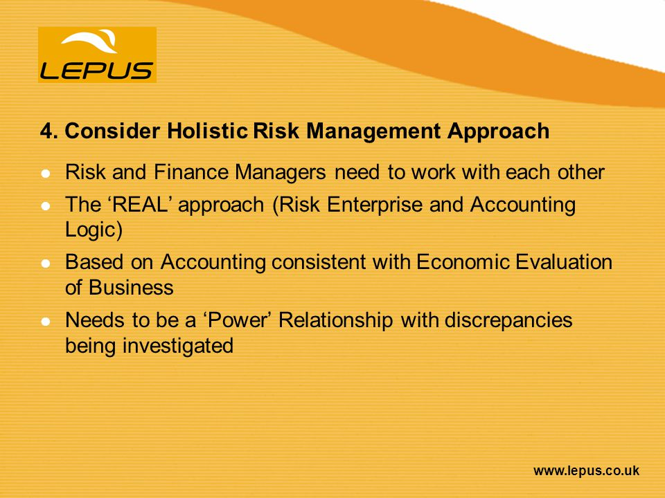 4. Consider Holistic Risk Management Approach