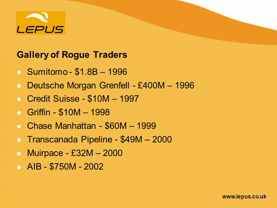 Gallery of Rogue Traders