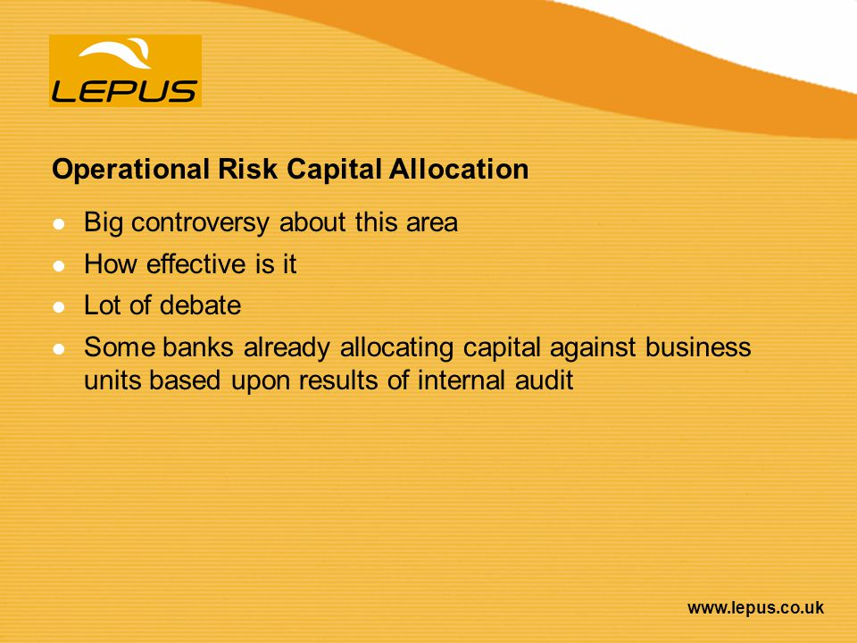 Operational Risk Capital Allocation