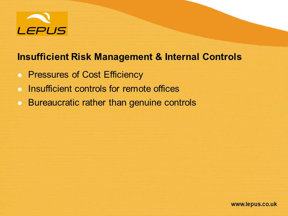Insufficient Risk Management & Internal Controls