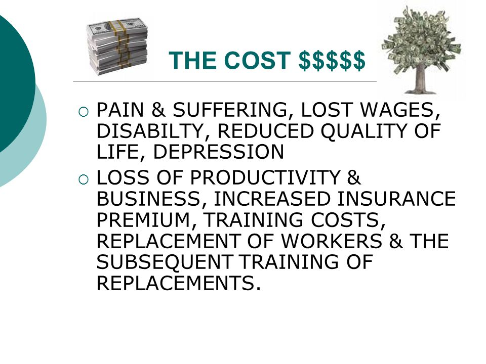 THE COST $$$$$ PAIN & SUFFERING, LOST WAGES, DISABILTY, REDUCED QUALITY OF LIFE, DEPRESSION.