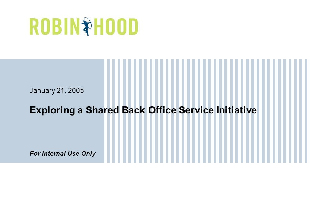 Exploring a Shared Back Office Service Initiative