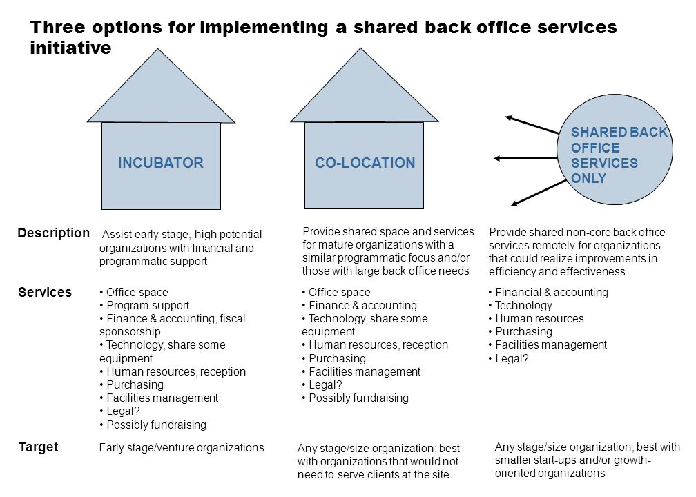 Three options for implementing a shared back office services initiative