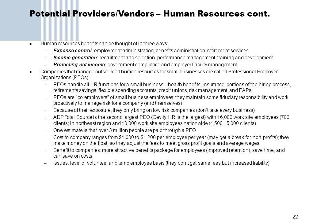 Potential Providers/Vendors – Human Resources cont.