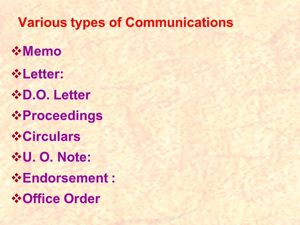 Various types of Communications