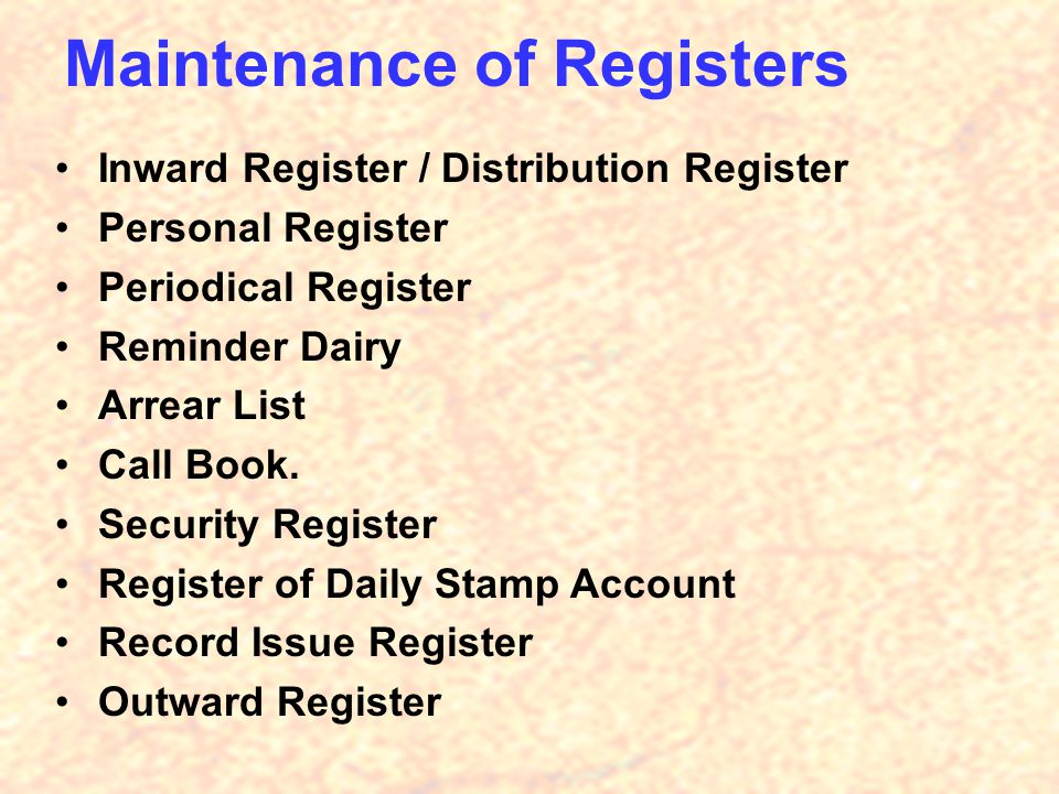 Maintenance of Registers