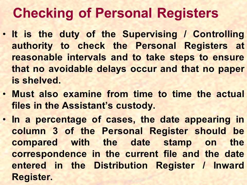 Checking of Personal Registers