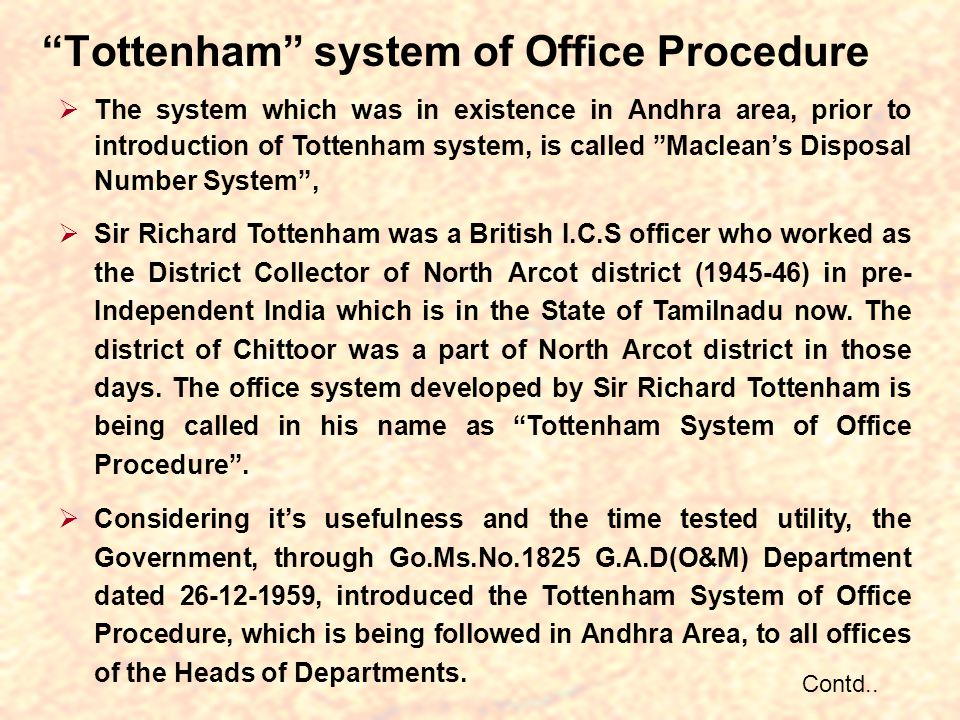Tottenham system of Office Procedure