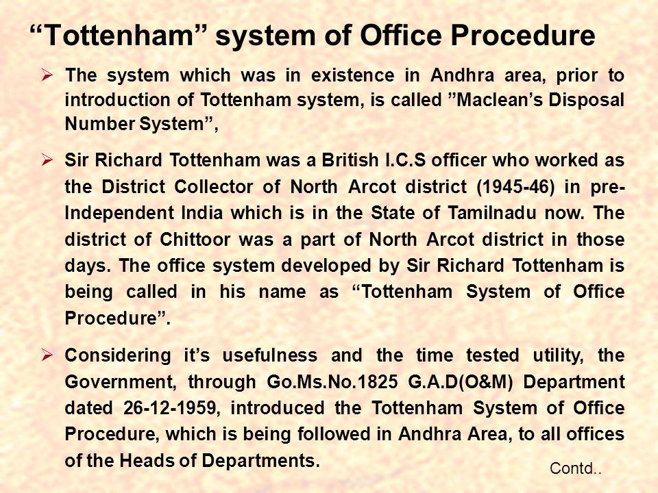 Tottenham system of Office Procedure