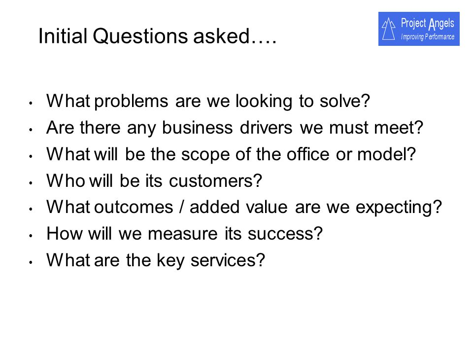 Initial Questions asked….