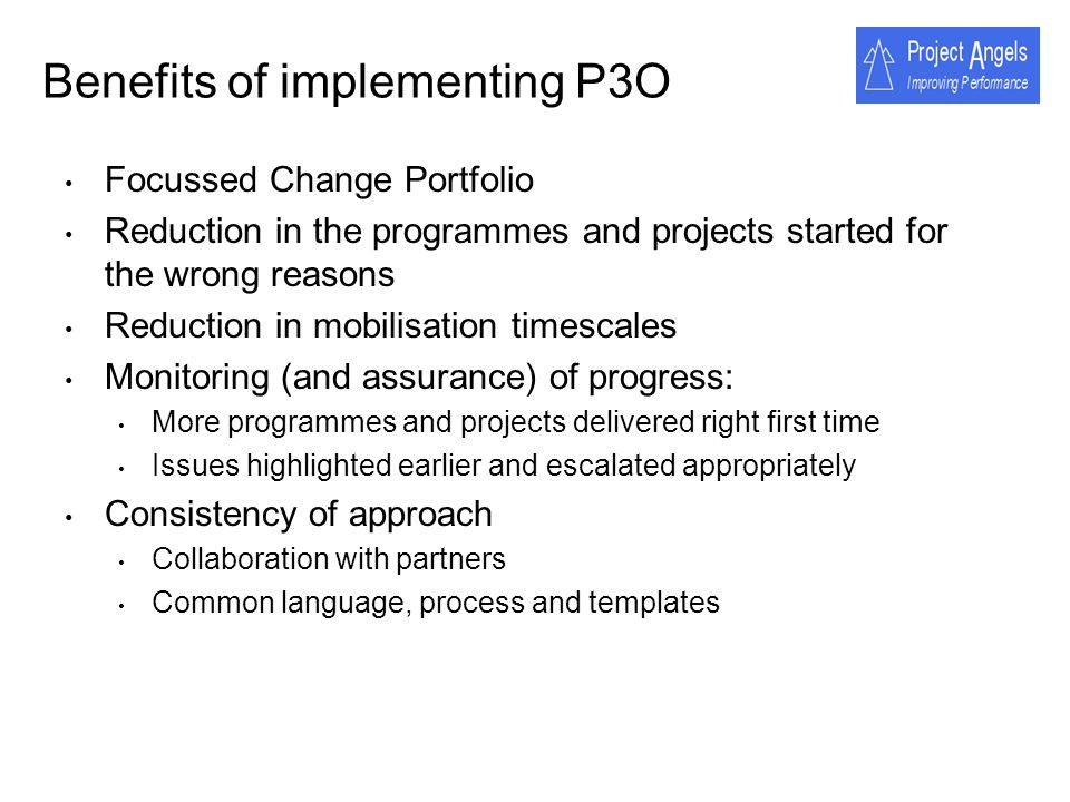 Benefits of implementing P3O