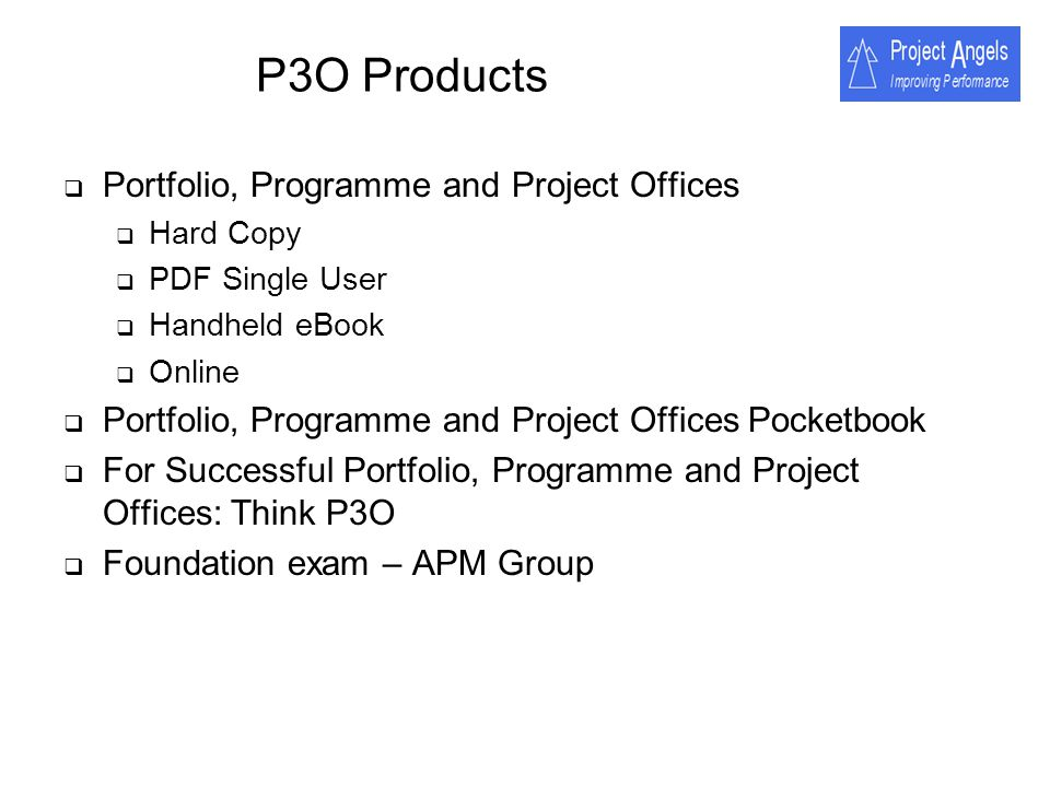 P3O Products Portfolio, Programme and Project Offices