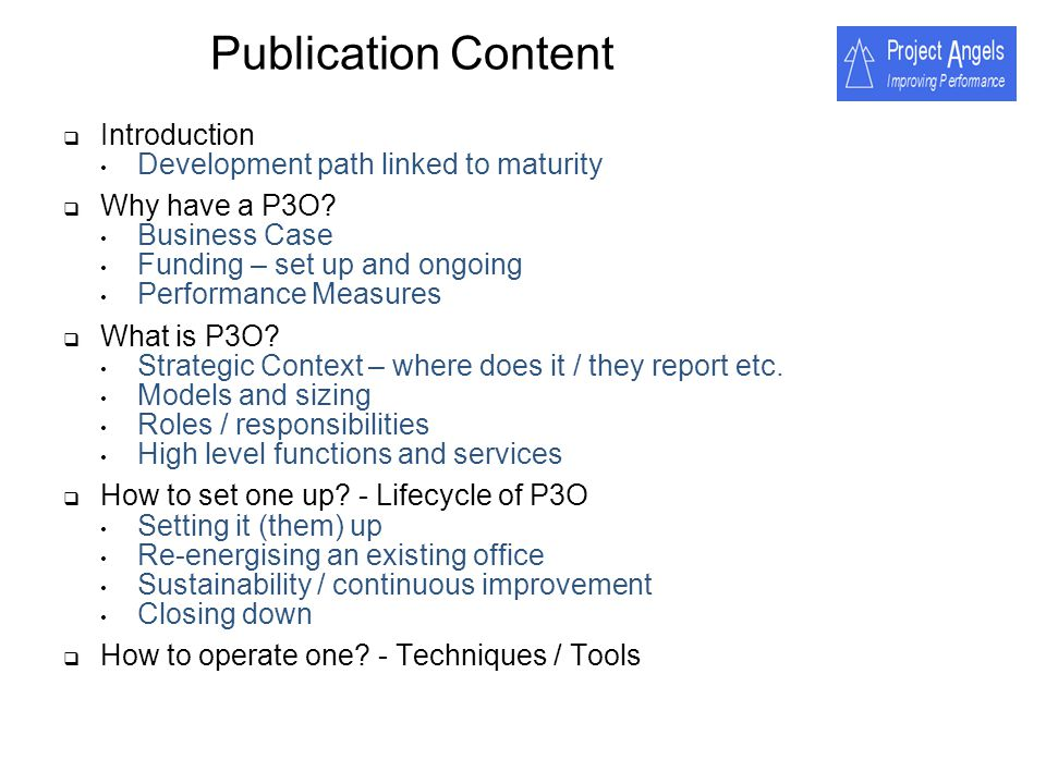 Publication Content Introduction Development path linked to maturity