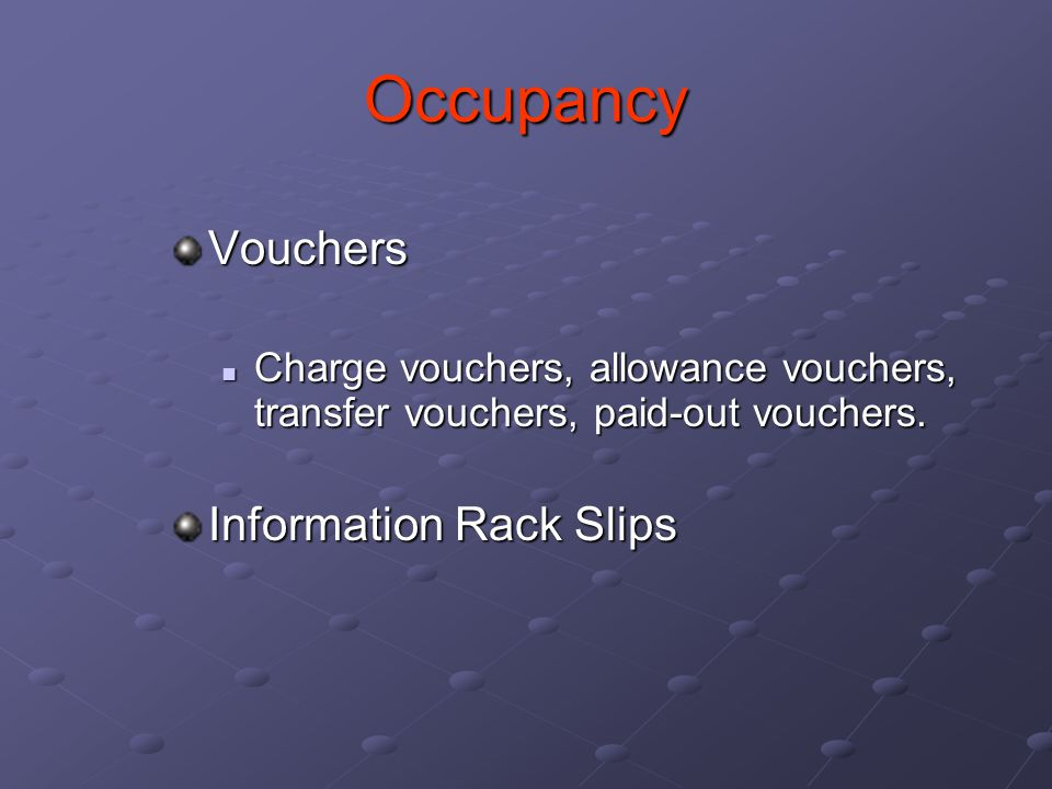 Occupancy Vouchers Information Rack Slips