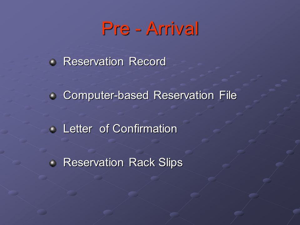 Pre - Arrival Reservation Record Computer-based Reservation File