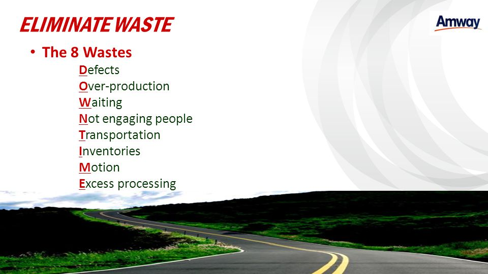 ELIMINATE WASTE The 8 Wastes Defects Over-production Waiting