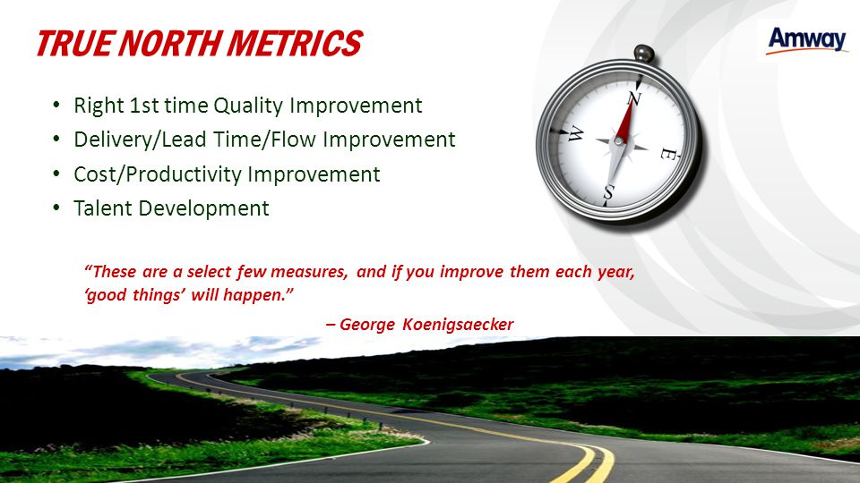 TRUE NORTH METRICS Right 1st time Quality Improvement