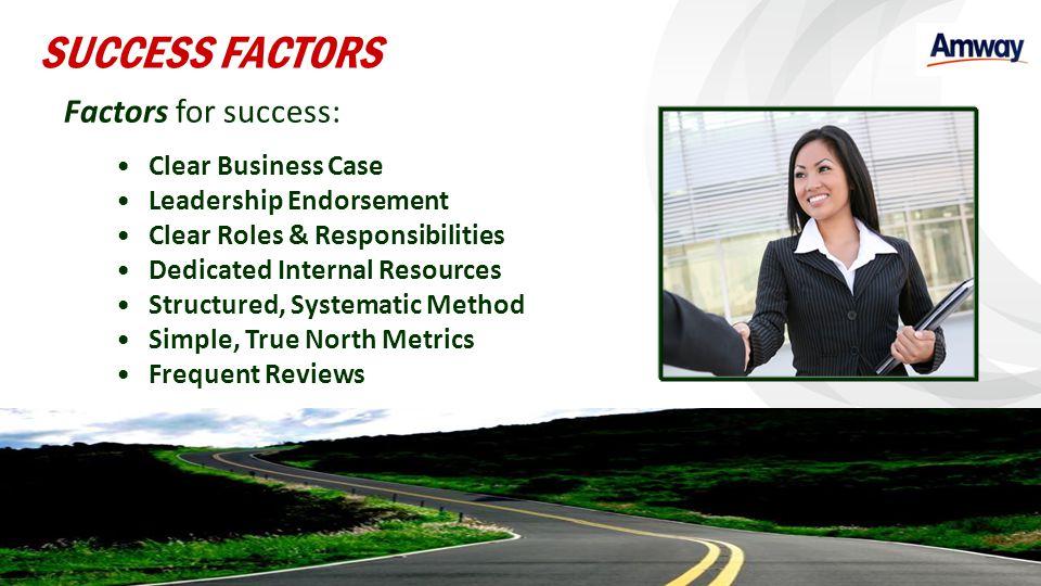 SUCCESS FACTORS Factors for success: Clear Business Case