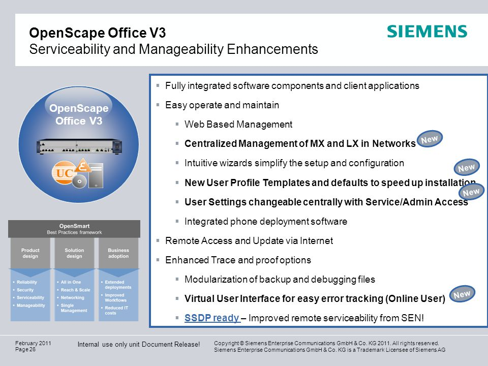 OpenScape Office V3 Serviceability and Manageability Enhancements