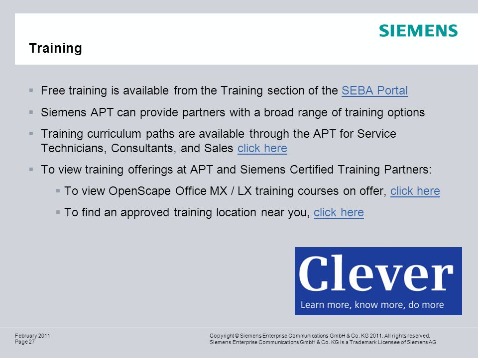 Training Free training is available from the Training section of the SEBA Portal.