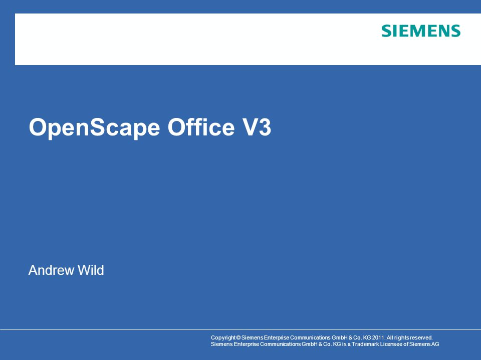 Cover slide for OpenScape Office V3 Product Overview Presentation.