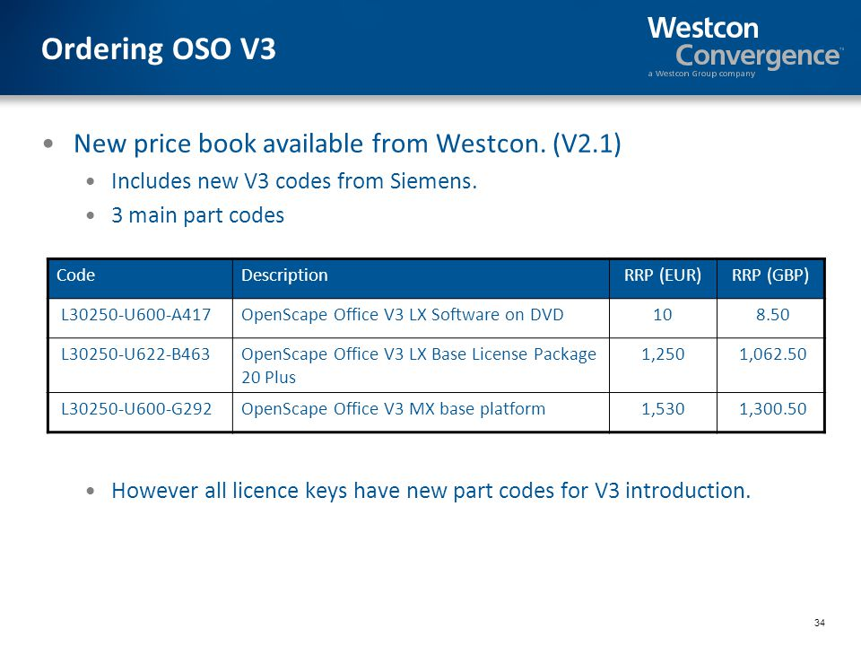 Ordering OSO V3 New price book available from Westcon. (V2.1)