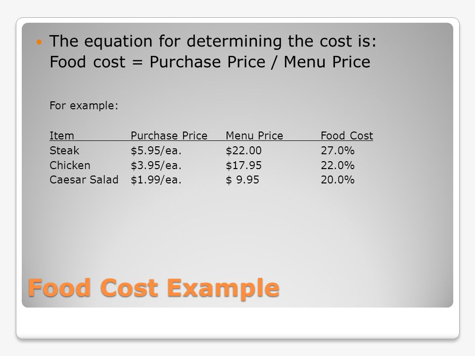 Food Cost Example The equation for determining the cost is: